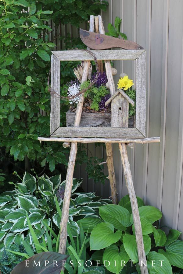 Rustic garden art easel with hostas. See the entire gallery for more ideas like ...