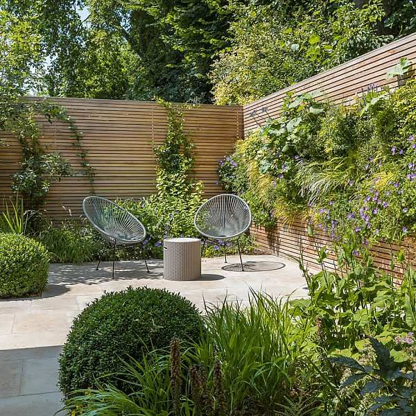 Hardscaping design structure and contrast elements to the organic forms, and lik...
