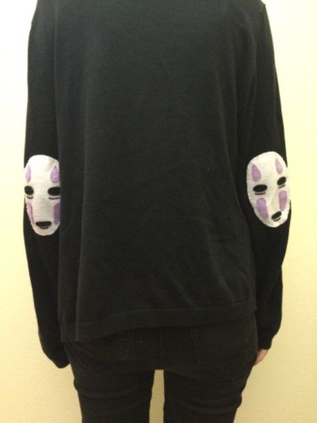 sweater spirited away sweatshirt sweatshirt kind grunge black soft grunge dark c...
