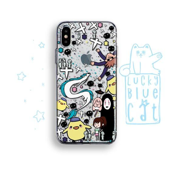 Kawaii Spirited Away iPhone X XS Max XR Case pastel goth Anime no face Dragon iP...