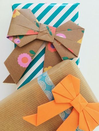 DIY Origami Bows - a fabulous way to use up old paper - very pretty and look goo...