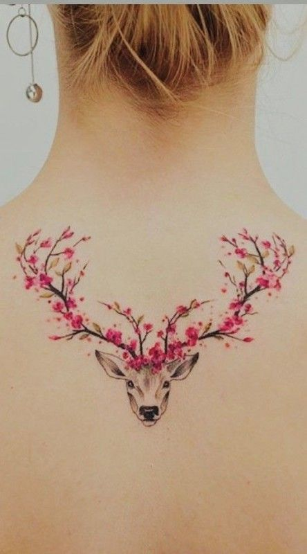 Cherry Blossom Deer Tattoo #tattoo #tattoos #tattooideas #tattoodesigns - #bloss...