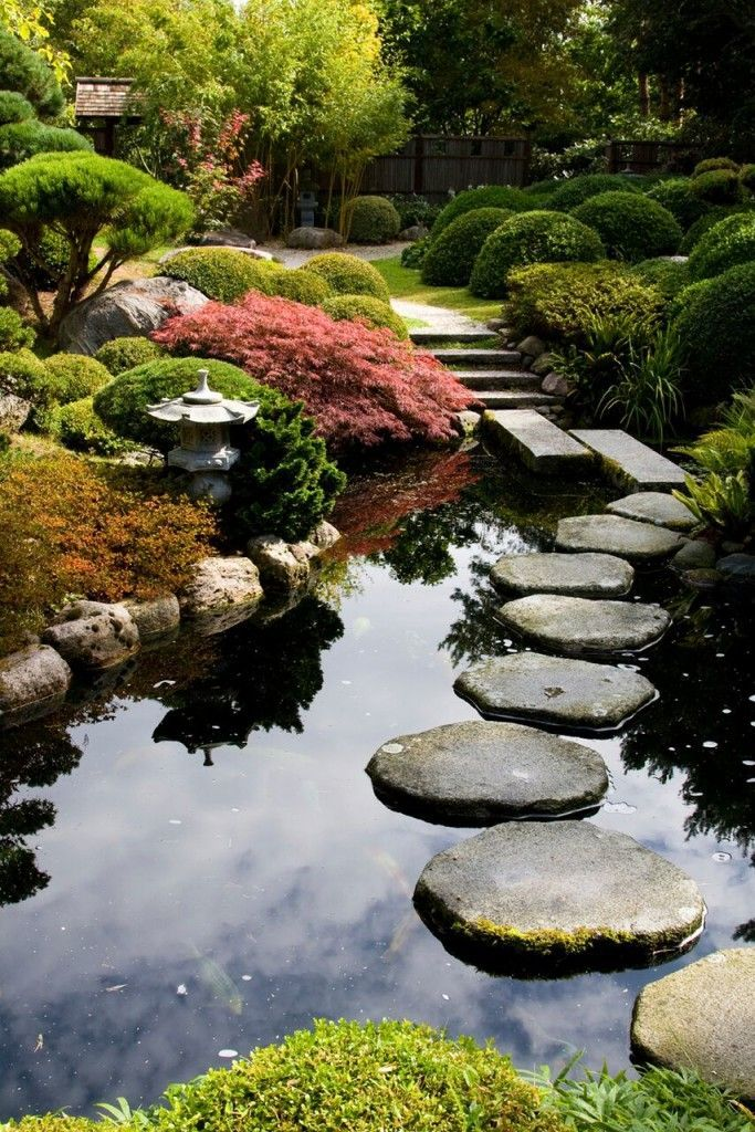 This balanced garden has a natural and asymmetric pond. Ponds are common in Japa...