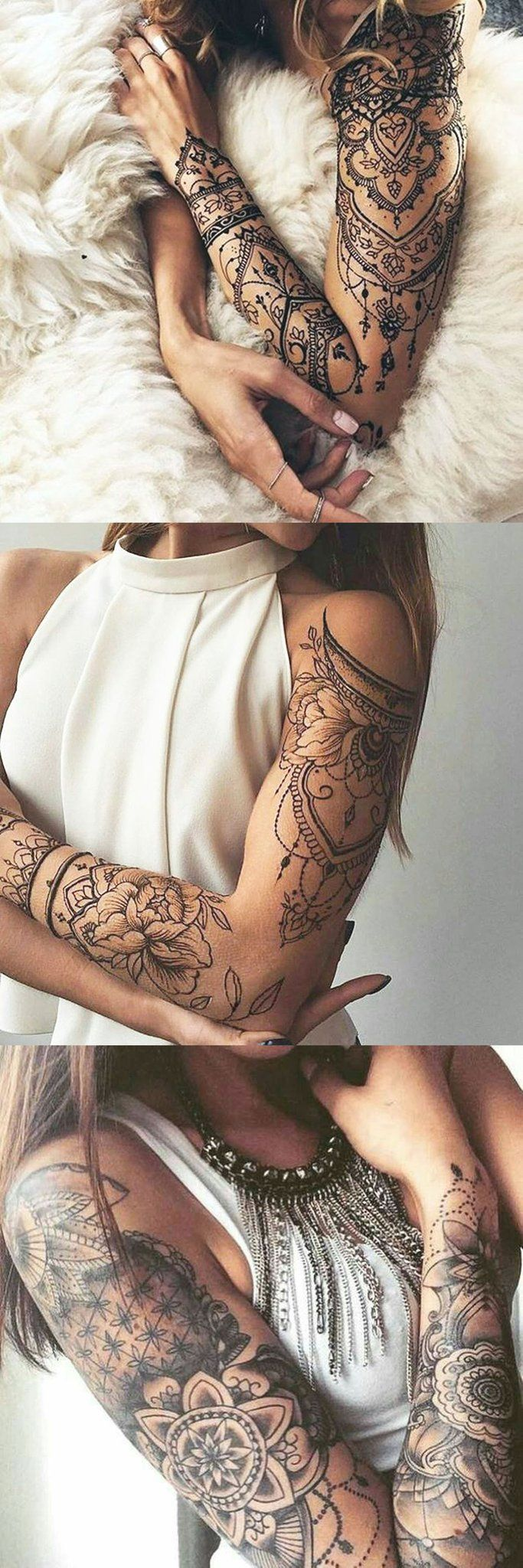 Lotus Arm Sleeve Tattoo Ideas for Women at MyBodiArt.com - Tribal Mandala Arm Bi...