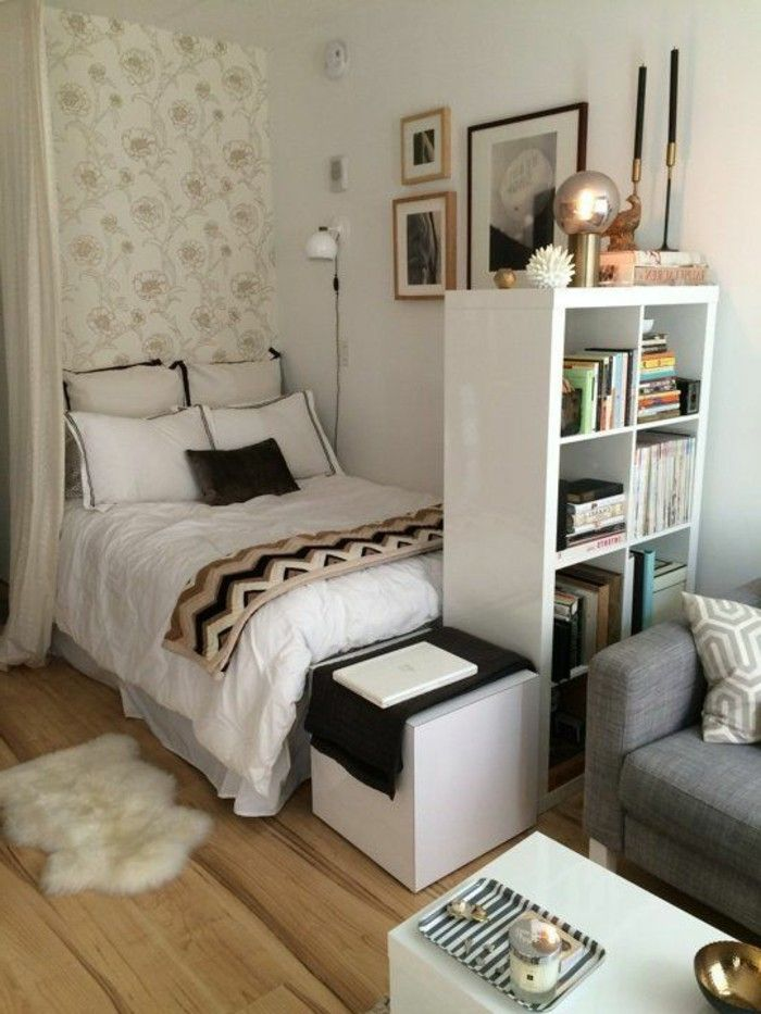 #hygge tiny bedrooms, small apartment, weißes Boho Schlafzimmer, platzsparend #...