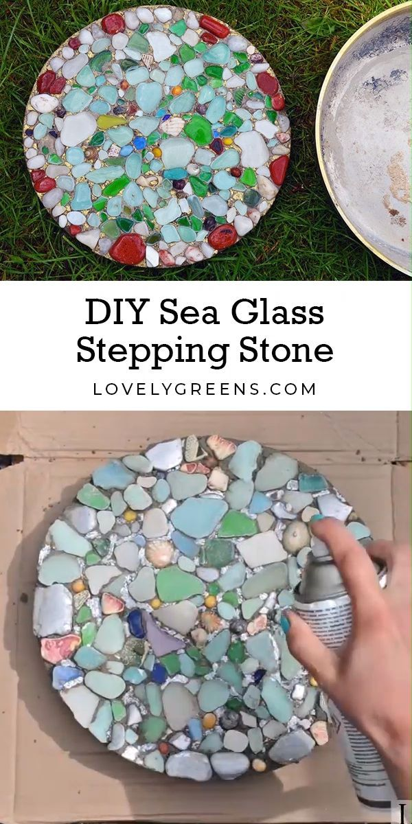 groß  How to make DIY Sea Glass Stepping Stones  #basteln #deko #dekoration #De...