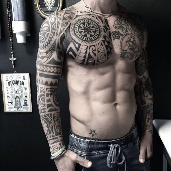 A Polynesian full body tattoo.