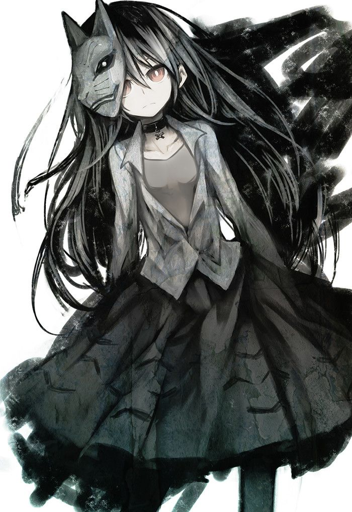 Goth Anime Girl | Pretty | Black and White | Red Eyes | Mask