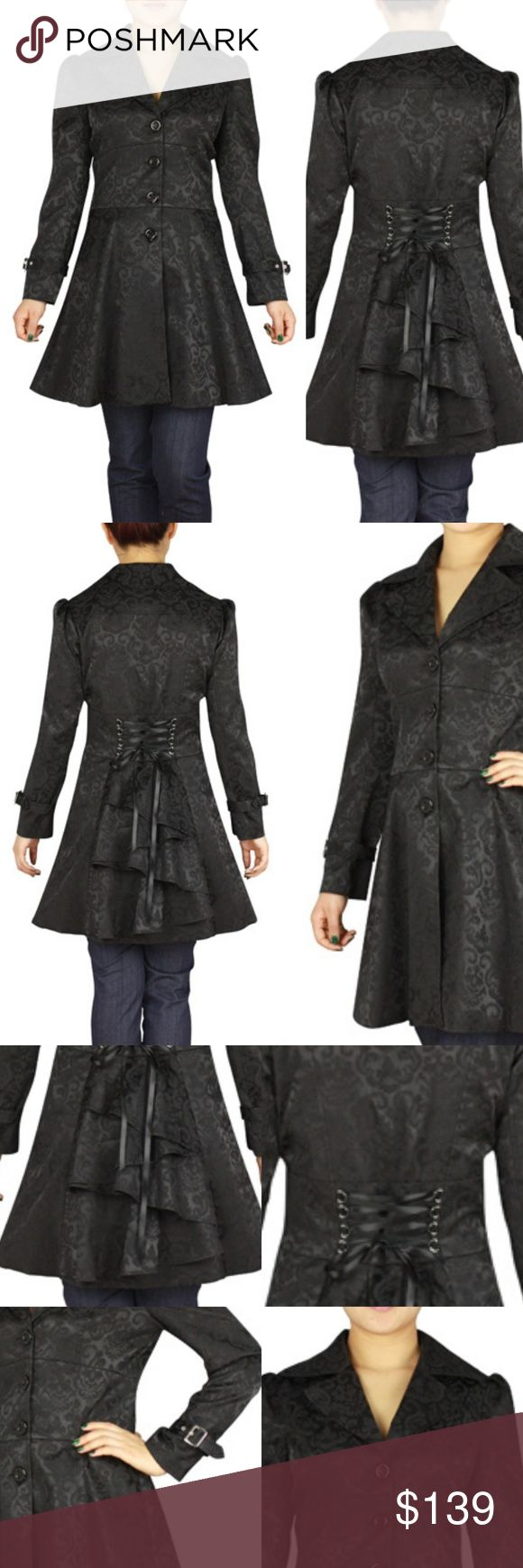 Lace Up Back Ruffle Jacket Coat Gothic Punk Black Lace Up Back Ruffle Coat Jacke...