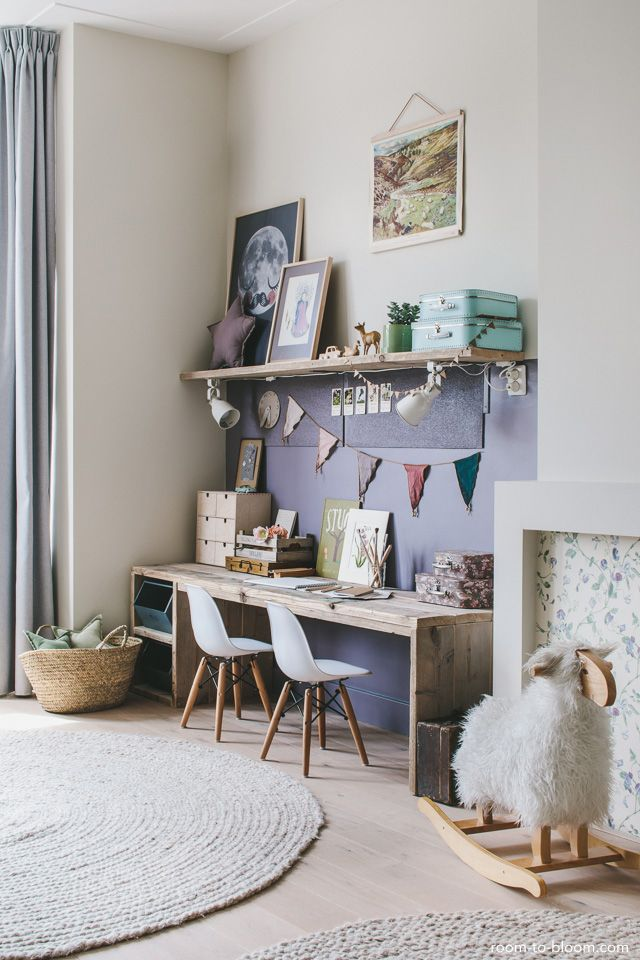Children's Bedroom Design | Girl's room with large desk lilac & green | ...