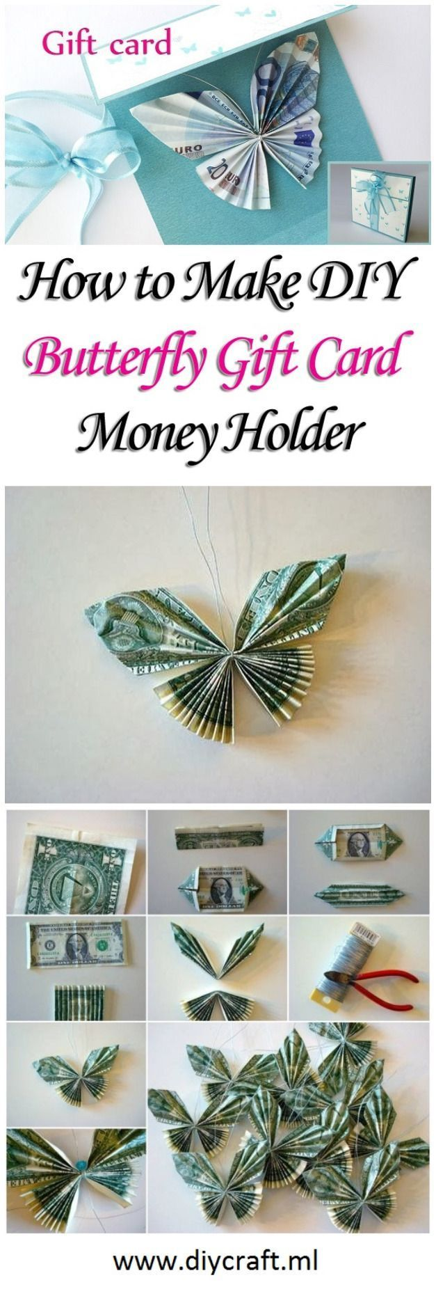 Machen Sie DIY Butterfly Gift Card Money Holder - #Butterfly #Card #DIY #Gift #H...