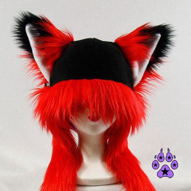 Red FOX kitsune cat Puffet Hat warm fleece ear flap strap furry goth anime cospl...