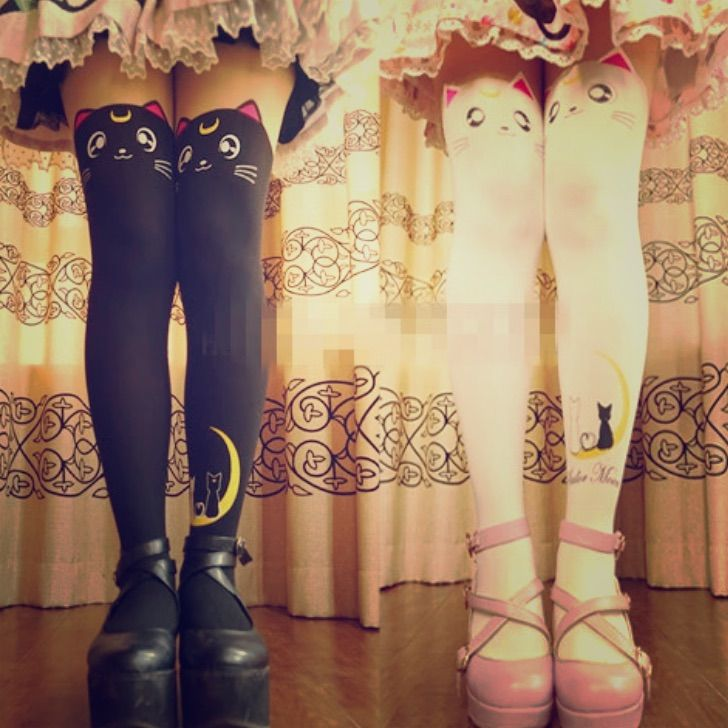 Goth Anime Cat Moon Cosplay Leggings Tights