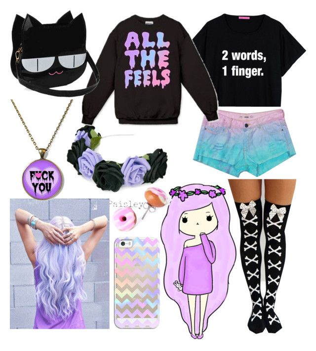 """""""Pastel goth"""" by anime-band-lovers ❤ liked on Polyvore featuring Casetify, wom..."""