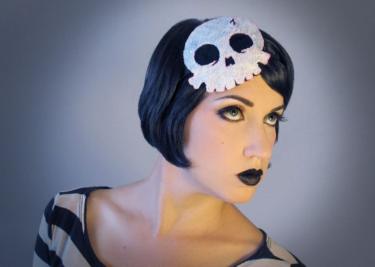 Glitter Skull fascinator headband - sparkly white halloween pirate goth anime ha...