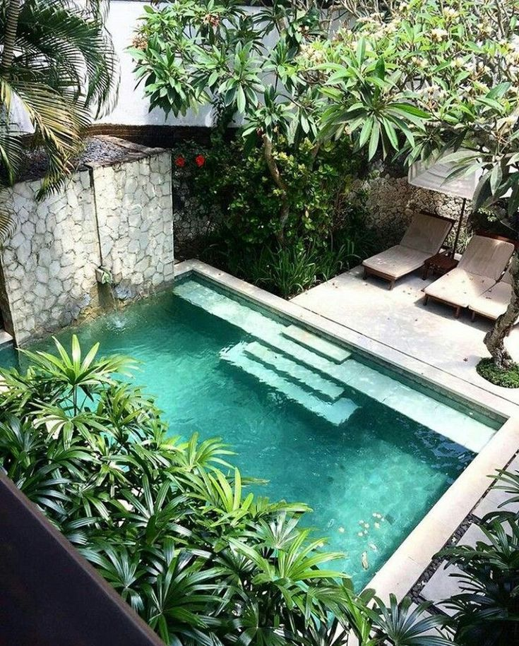 Gorgeous 47 Lovely Small Courtyard Garden Design Ideas For Home. Swimming pool d...