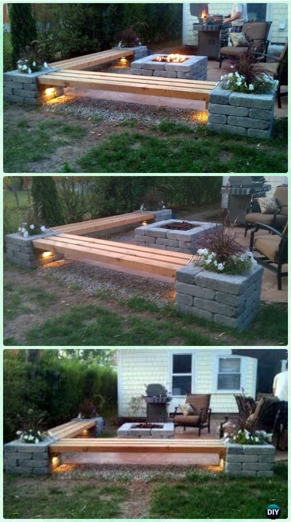 DIY Propane fire pit & Corner benches with landscape lighting and pillars with p...
