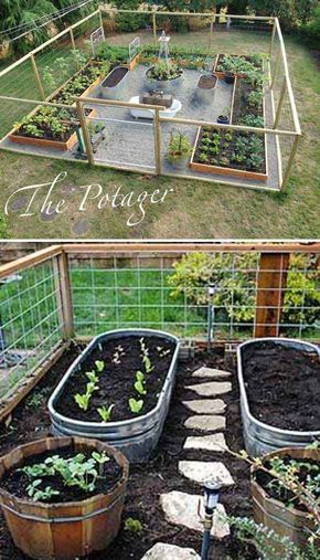 Use Metal Trough as Container for Vegetable Garden and Install a Path Between Yo...