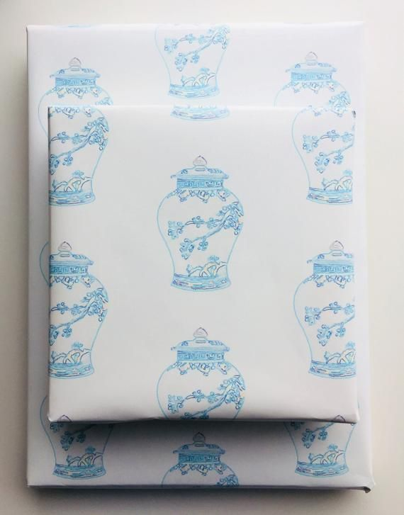 Ginger Jar Wrapping Paper Roll Gift Wrap Blue and White Paper Gift Wrapping Clas...