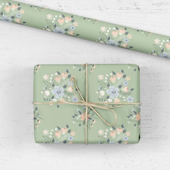 Pretty floral gift wrap professionally printed in my original hand drawn design ...