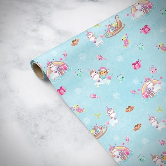Unicorn Christmas Wrapping Paper Sheets, Christmas Unicorn Gift Wrap Sheets, Uni...