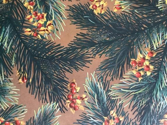 Vintage 1950s Holiday Gift Wrap Paper--1 Sheet Christmas Wrapping Paper--Norcros...