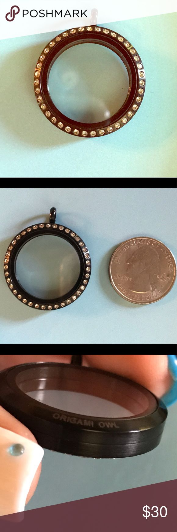 Origami Owl Large Black Locket w Crystals NEW! NEW w box! Large Black Locket w C...