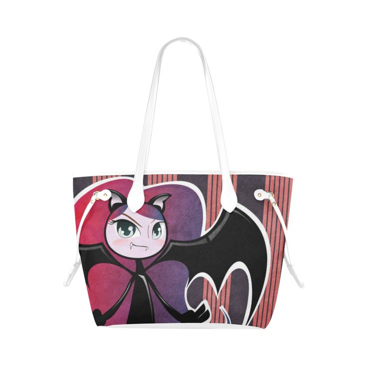 Cute little Vampire - Pink Clover Canvas Tote Bag (Model 1661) Check out other p...