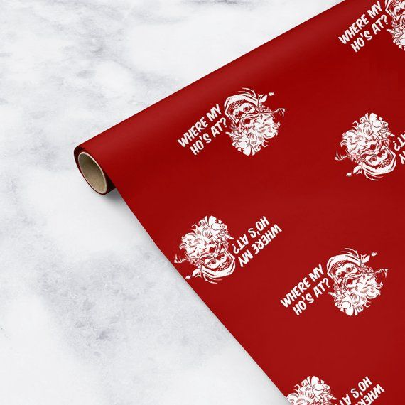 Where My Hos At Christmas Gift Wrap Paper, Funny Christmas Wrapping Paper Rolls,...