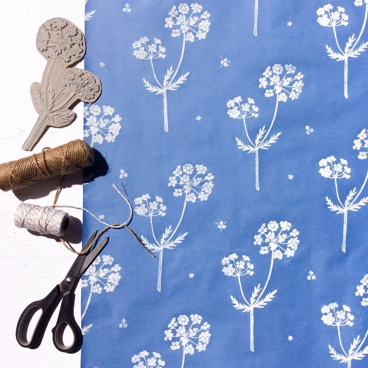Handprinted Gift Wrap. Cow Parsley & Flower Design. Lino Printed Hand-Stamped Wr...