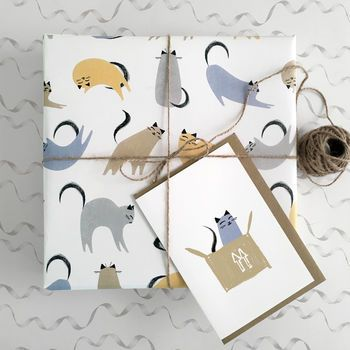 cat gift wrap wrapping paper by purpose & worth etc | notonthehighstree...