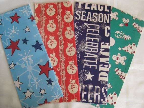 Christmas vintage gift wrap paper, 4 folded sheets, 4 designs Christmas/winter t...