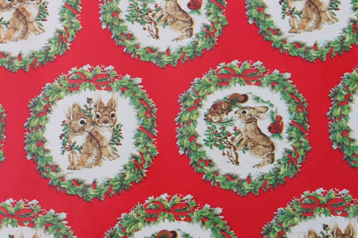 Vintage Cute Christmas Gift Wrapping Paper Bunny Rabbits Old | Etsy