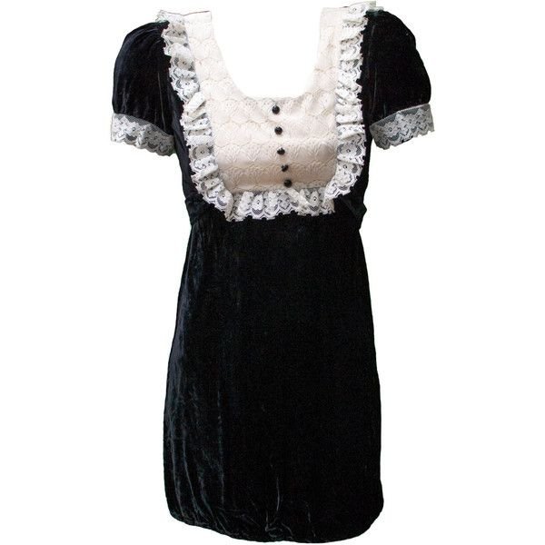 1960s Small Dress Black White Lace Velvet Goth Anime French Maid Rocky... ($69) ...