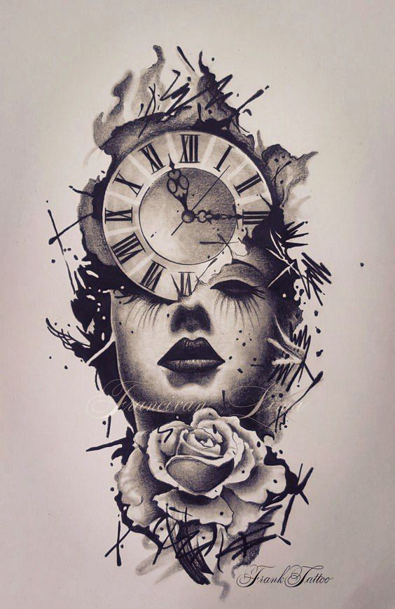 Clock Tattoo  Über 300 Image-Ideen  #Clock #ImageIdeen #tattoo #Tattoos #Ale