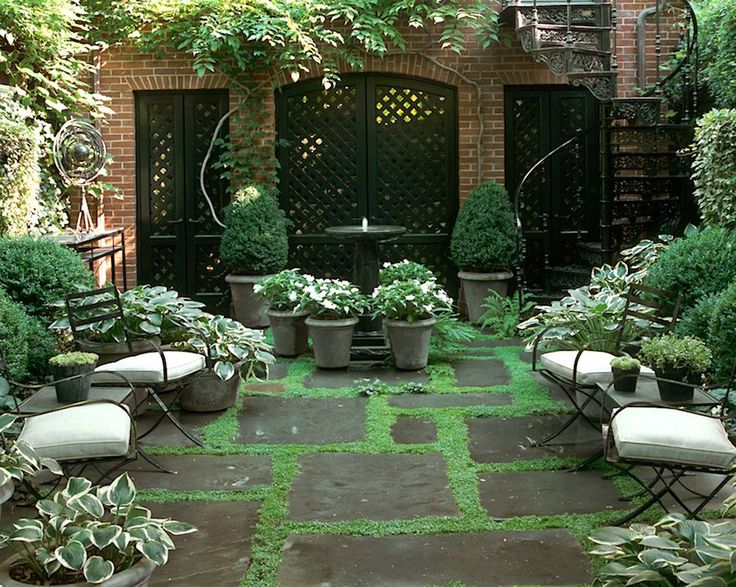 Sawyer Berson Townhouse Garden with painted lattice screens  On Perry Street - N...