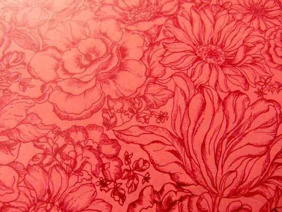 Vintage Wrapping Paper, Pink floralVintage Rose Gift Wrap, one sheet 20X30 inche...
