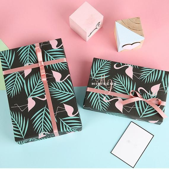Pink Flamingo Wrapping Paper, Tropical Plants Wrapping Paper, Gift Wrap Sheets, ...