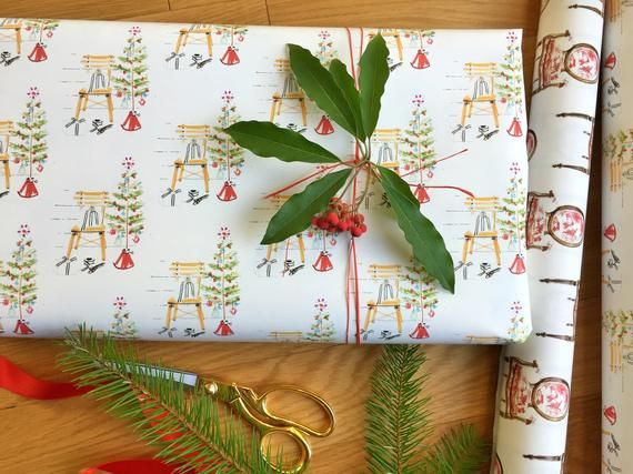 Rustic Wrapping Paper, Roll, Country Christmas Decorations, Holiday Gift Wrap, F...