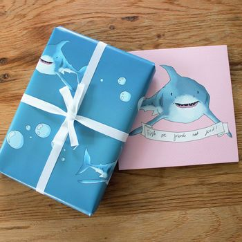 sharky gift wrap two sheets folded by perky | notonthehighstree...