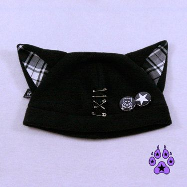 Plaid Kitty Hat Jrock PUNK kawaii cosplay anime cat fleece beanie goth pins bad ...