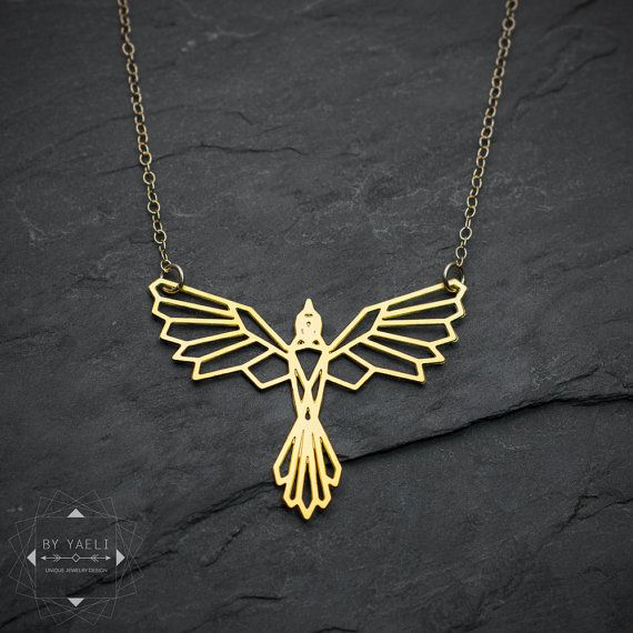 Bird necklace, phoenix necklace, geometric phoenix bird pendant, bird jewelry, o...