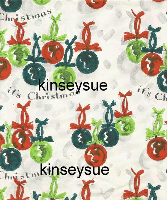 Vintage Christmas Gift Wrap Wrapping Paper Hand Painted? Christmas Ornaments Vin...