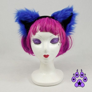 KITTY cat cosplay Goth Anime Hat EARS Neko furry HEADBAND fur BLUE RAVE | eBay