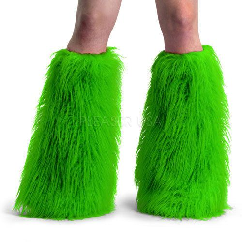 Demonia Furry Cyber Goth Anime Rave Monster Fake Fur Boot Sleeves Covers GREEN #...
