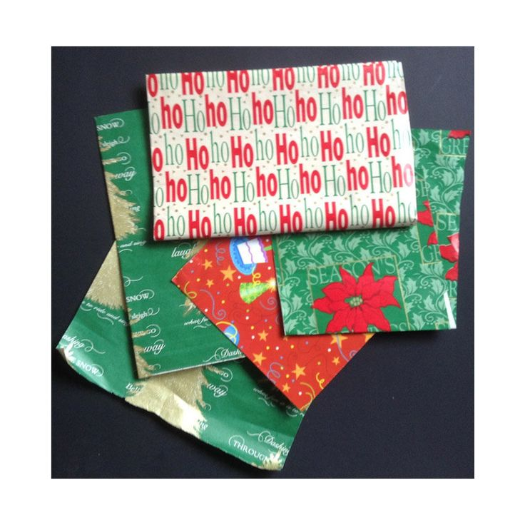 Lot of Vintage Holiday Gift Wrap Ho Ho Ho, Poinsettias, Christmas Trees, Xmas Sc...