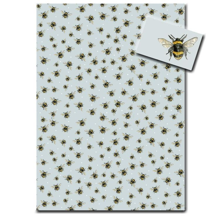 Bumble Bee Wrapping Paper | Bee Gift Wrap | Bee Gift Blue | By British artist Sa...