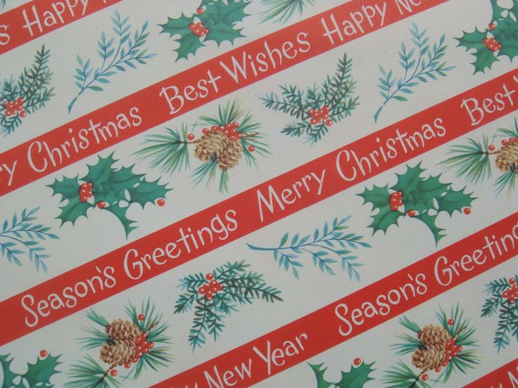 Vintage Gift Wrapping Paper Best Wishes Happy New Year   Etsy