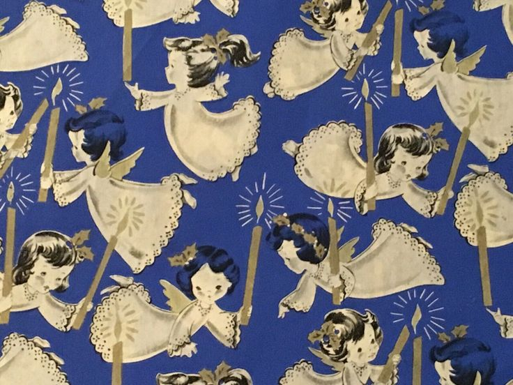VTG CHRISTMAS WRAPPING Paper Gift Wrap 1940 Hy-Sil Angels Candles On Blue Nos - ...