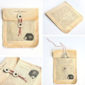 miss red fox - 12giftswithlove 01 Old book - DIY Upcycling - Gift Wrapping Envel...